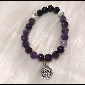 Essential Oil Diffuser Mala Bracelet Lotus Charm